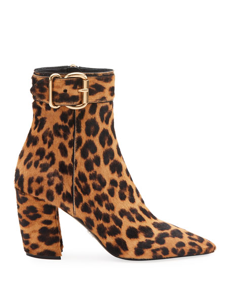 Leopard-Print Booties with Buckle
