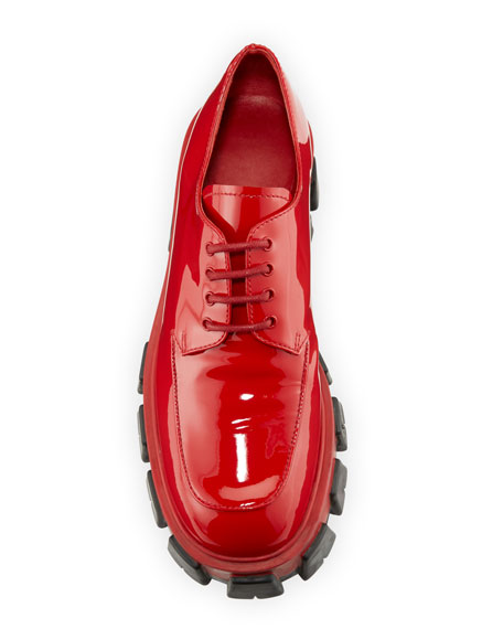 Shiny Chunky Lace-Up Shoes
