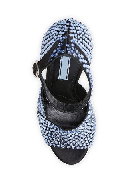 Crystal Satin Ankle-Strap Sandals