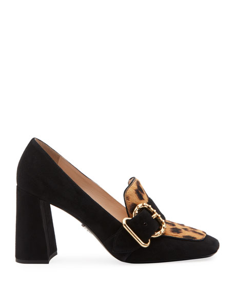 Mocassin Suede and Leopard Pumps