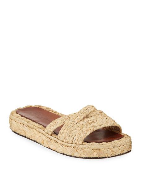 Idalie Platform Raffia Slide Sandals