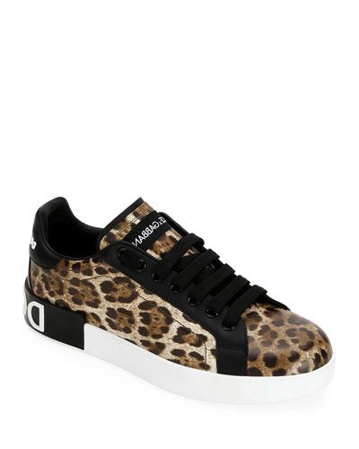 Leopard Logo Low-Top Sneakers