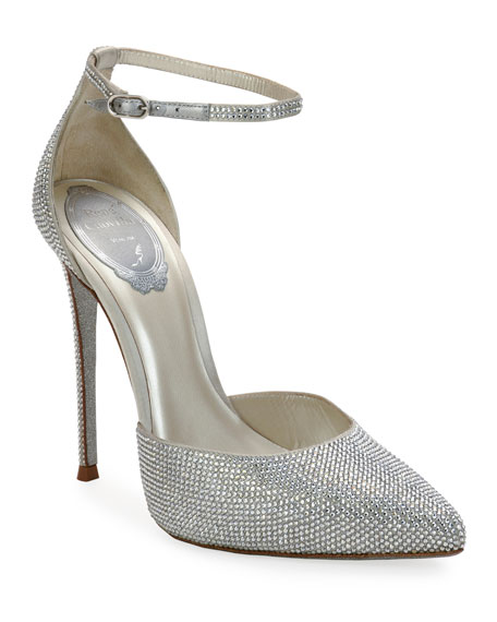 Pointed Toe Crystal Pumps by Rene Caovilla