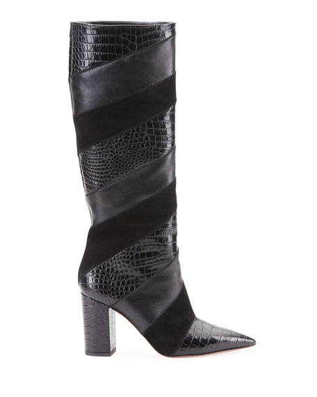 Boetti Croc-Embossed Mixed Leather Knee Boots