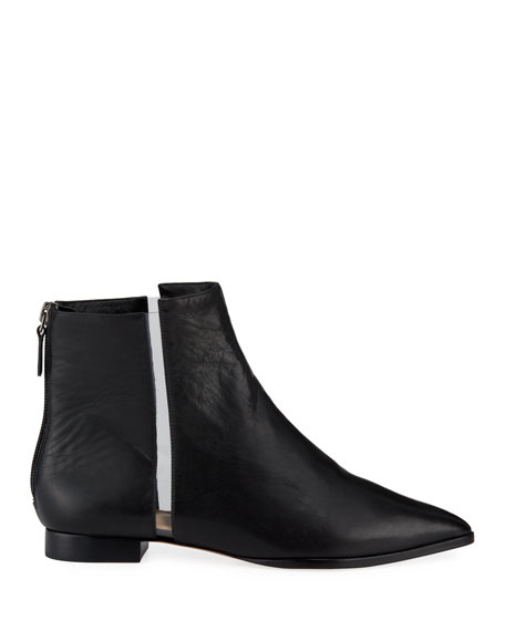 Dora Leather Booties with Transparent Striping, Black