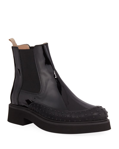 Chunky Chelsea Patent Leather Booties