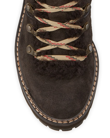 Fur-Lined Lace-Up Boots