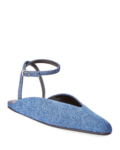 Image 1 of 1: Round Denim Ballet Flats