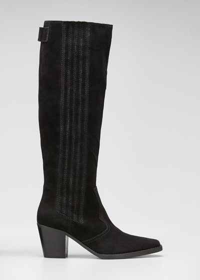Pleated Suede Knee Western Boots