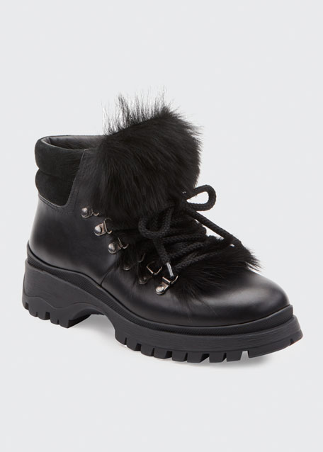 Lug-Sole Hiker Boots with Fur Trim