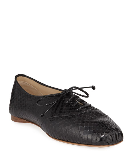 Image 1 of 1: Maya Snakeskin Oxford Loafers