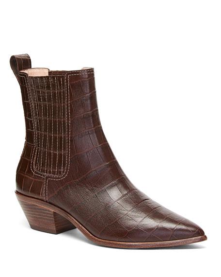 Aylin Croc-Embossed Leather 45mm Western Booties
