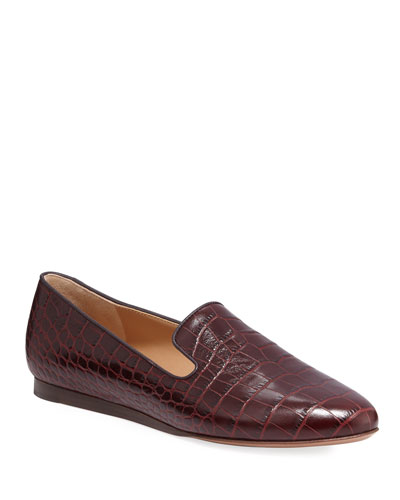 Griffin Crocodile-Embossed Loafers