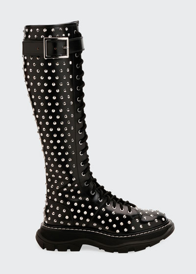 Spike Studded Knee Boots