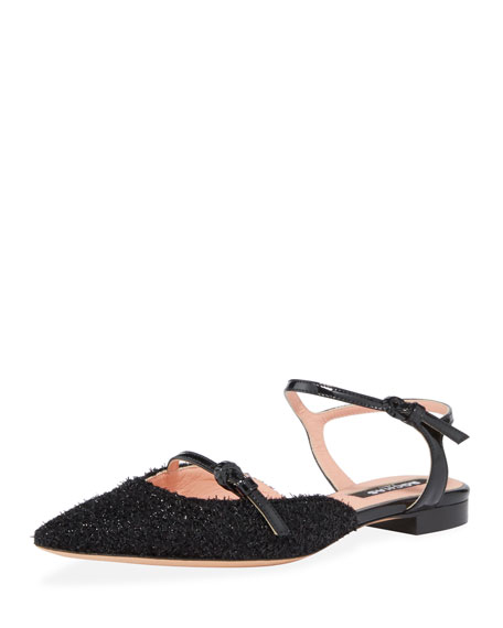 Double Strap Frayed Flats