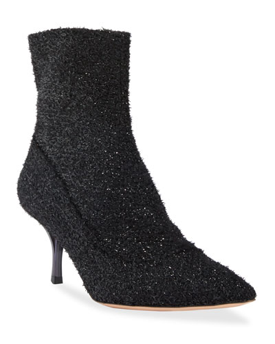 Boucle Pointed Ankle Booties