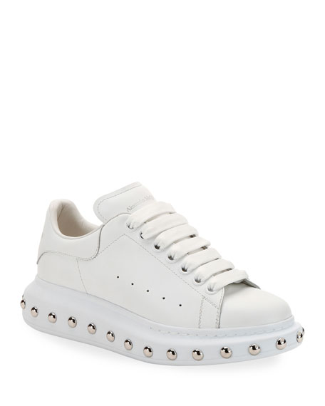Image 1 of 1: Studded Leather Low-Top Sneakers