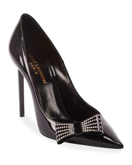 Image 1 of 1: Zoe Rhinestone Bow Leather Pumps