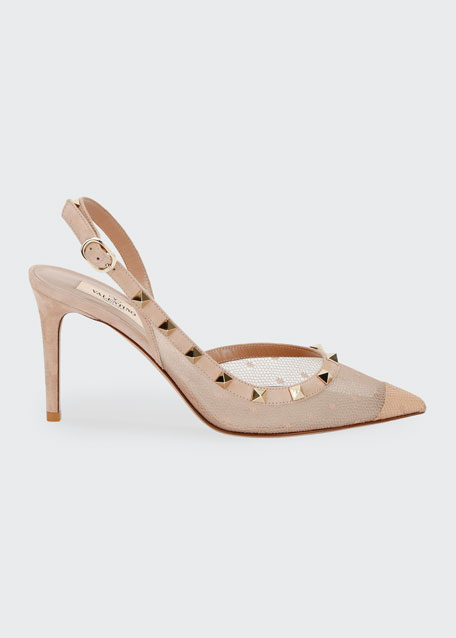 Image 1 of 1: Rockstud 85mm Pizzo Pois Slingback Pumps