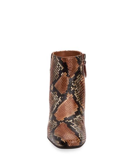Ulyssaa Snake-Print Leather Booties