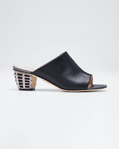 Leather Slide Sandals with Metal Weave Heel