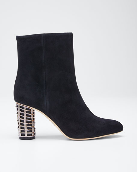 Suede Booties with Metal Weave Heel