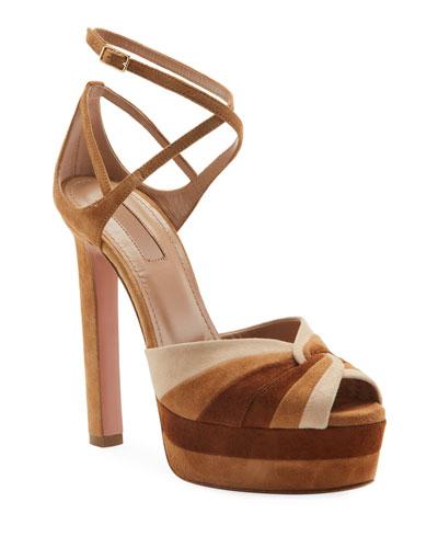La Di Da Plateau Colorblock Suede Platform Sandals