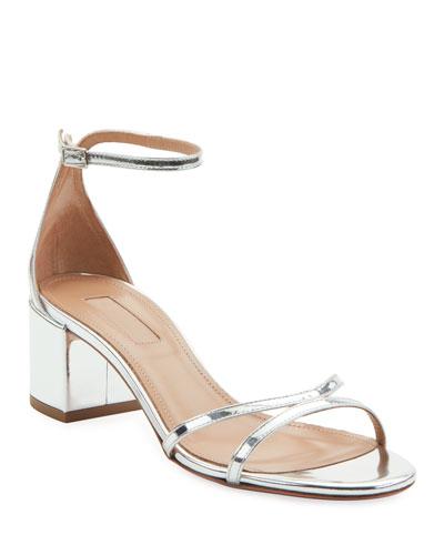 Metallic Leather Block-Heel Sandals
