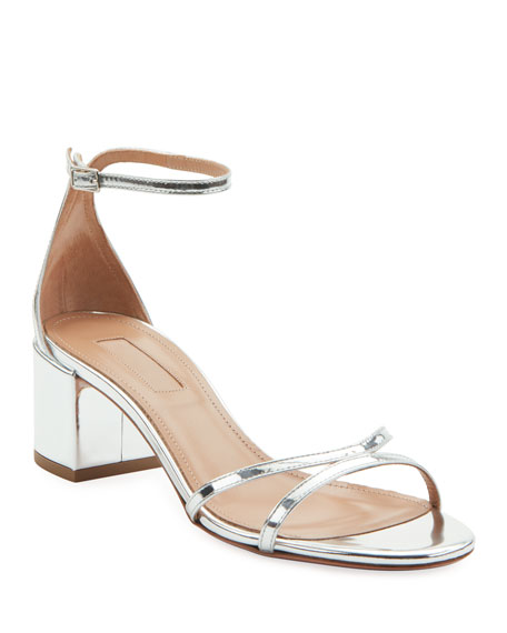 Metallic Leather Block-Heel Sandals