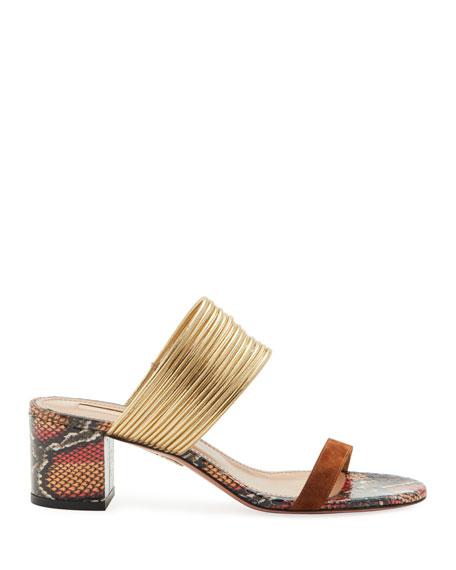 Rendez Vous Snake-Print Leather Slide Sandals
