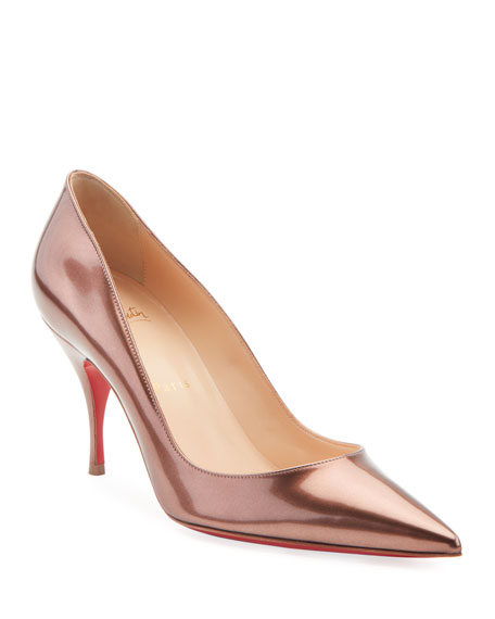 Clare Metallic Patent Leather Red Sole Pumps