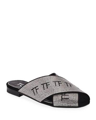 Flat Crisscross Crystal Sandals