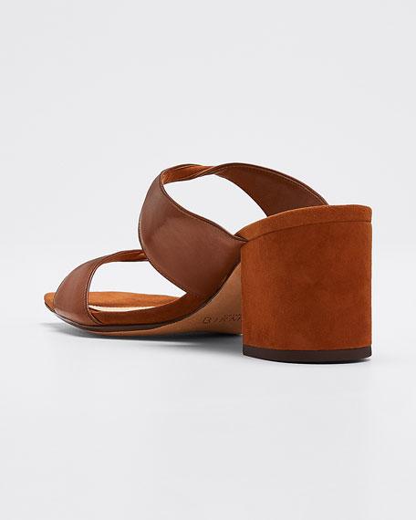 Miki Suede/Leather Twist Slide Sandals