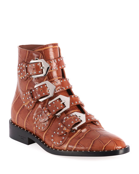 Elegant Studded Croco Print Booties by Givenchy