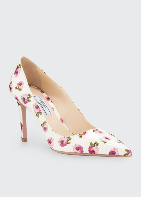 Image 1 of 1: Flower-Print Patent Leather Pumps