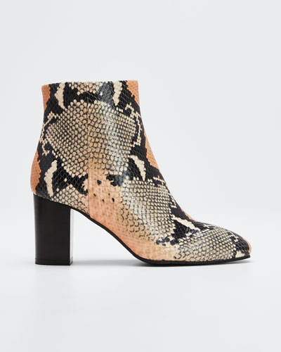 Florita Snake-Print Leather Zip Booties