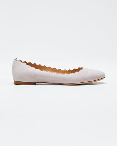 Lauren Scalloped Suede Ballet Flats