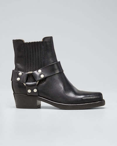 Short Cavalry Leather Harness Boots