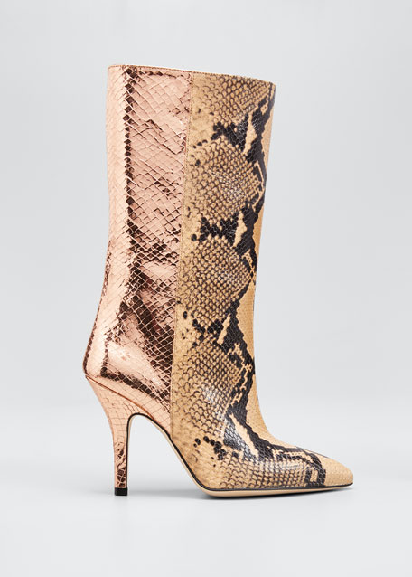 Image 1 of 1: Mixxed Snake-Embossed Leather Stiletto Booties