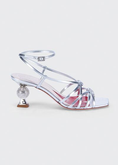 65mm Metallic Sandals with Crystal Heel