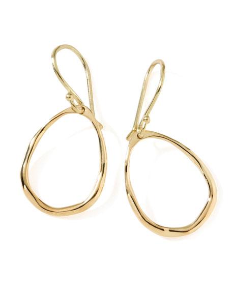 18K Gold Mini Squiggle Open Teardrop Earrings
