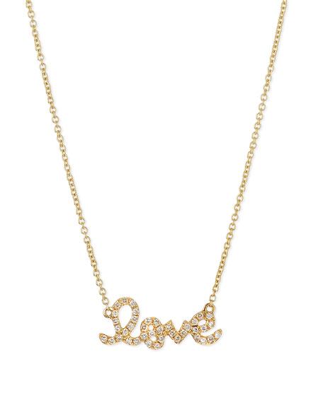 Image 1 of 1: 14k Gold Diamond Love Pendant Necklace