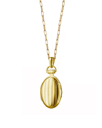 18k Gold Petite Pinstripe Locket  30L
