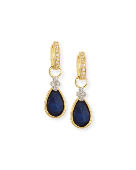 Provence Labradorite & Black Onyx Earring Charms with Diamonds
