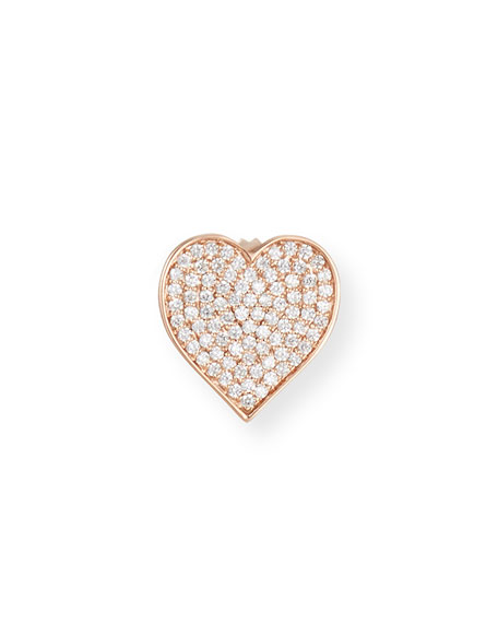 Oversized Heart Stud Earring with Diamonds in 14K Rose Gold