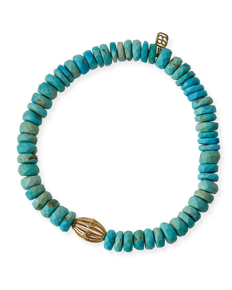 8mm Turquoise Beaded Bracelet w/ 14k Diamond Ball Charm