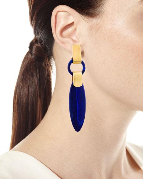 Long Lapis Spear Drop Earrings
