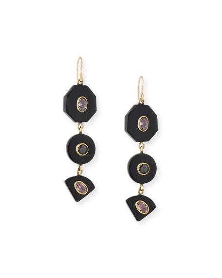 Zambarau Dark Horn Three-Drop Earrings