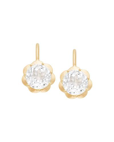 Petite Scallop Drop Earrings in White Topaz