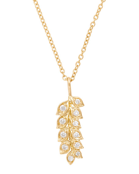 18K Gold Vine Pendant Necklace with Diamonds